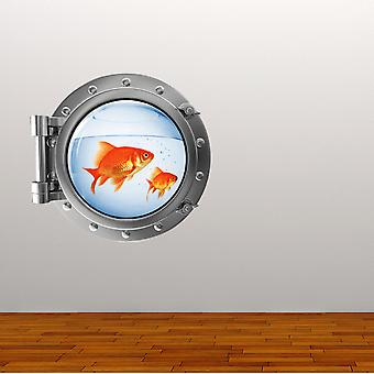 Full Colour Gold Fish Bowl Porthole Wall Sticker