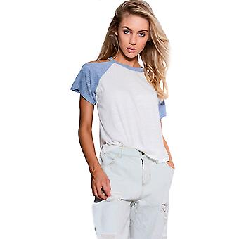 Double Agent Cream T-Shirt With Contrasting Blue Cold Shoulders