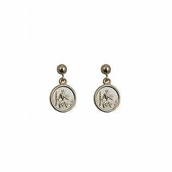 Silver 8mm round St Christopher Dropper Earrings