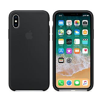 Original Packed Apple Silicone Microfiber Cover Cover Case for iPhone X/XS - Black