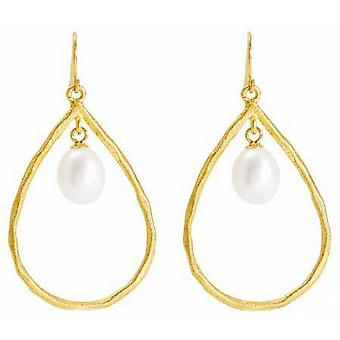 Pearls of the Orient Brushed Vermeil and Pearl Drop Earrings - Gold/White