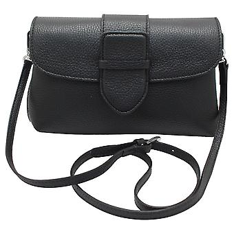 Abro Black Leather Cross Body Handbag