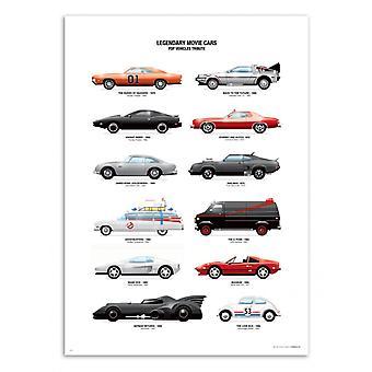 Kunst-poster-legendarische film Auto's-Olivier Bourdereau 50 x 70 cm