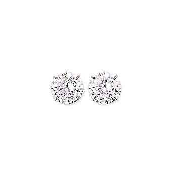 Jewelco London Rhodium Plated Sterling Silver Round Brilliant Cubic Zirconia 4 Claw Solitaire Stud Earrings 14mm