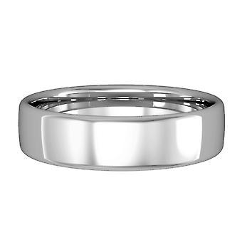 Κοσμήματα του Λονδίνου 18ct λευκό χρυσό-5mm απαραίτητα Bombe σχήμα δικαστήριο μπάντα δέσμευση/δαχτυλίδι γάμου