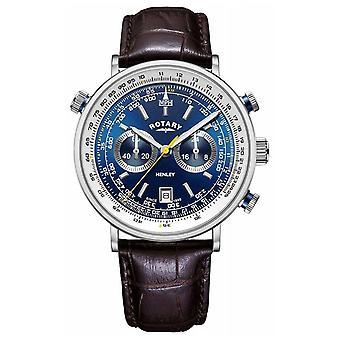 Pyörivä | Miesten ' s Henley Chronograph | Sininen Dial | Ruskea nahka hihna GS05235/05 Watch