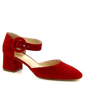 Leonardo Shoes Women's handmade square toe heels sandals in red suede leather