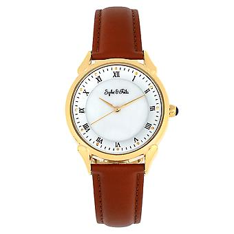 Sophie et Freda Mykonos Mother-Of-Pearl Leather-Band Watch - Brown