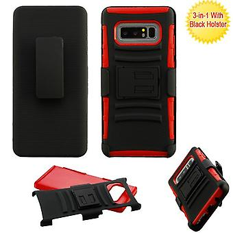ASMYNA Black/Red Advanced Armor Stand Protector Cover w/ Holster  for Galaxy Note 8