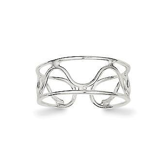 925 sterling sølv solid polert bølge tå ring smykker gaver til kvinner