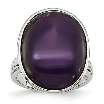 Stainless Steel Polished Simulated Synthetic Amethyst Ring - Ring Size: 6 to 7