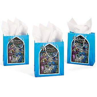12 Welcome to Our Church Christian Nativity Paper Gift Bags