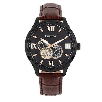Heritor automatische Harding semi-skelet leder-Band Watch-zwart