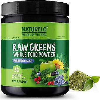 Raw greens powder with grasses, probiotics and superfoods - wild berry flavour - 30 servings (vegan)