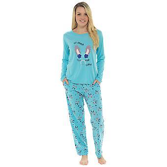 Ladies 100% Jersey Cotton LLama Print Pyjama Set Loungewear