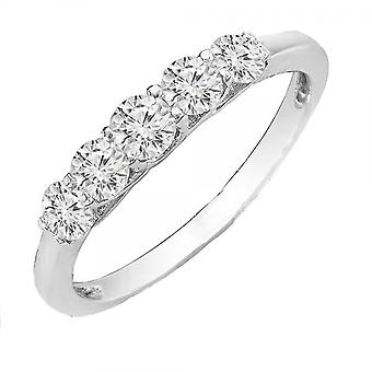 Dazzlingrock Collection 0.50 Carat (ctw) 14K Round White Diamond Five Stone Engagement Bridal Band 1/2 CT, White Gold
