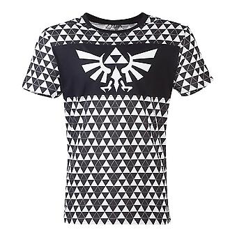 Zelda Royal crest logo med Tri-Force Checker mønster T-skjorte mannlig liten svart/hvit