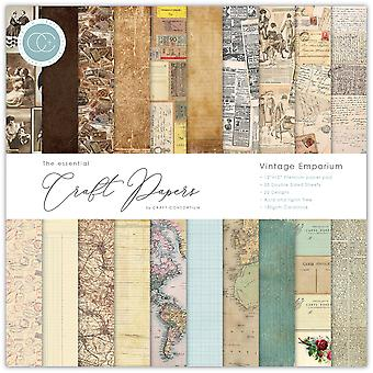 "Craft Consortium Double-Sided Paper Pad 12""X12"" 30/Pkg-Vintage Emporium, 20 Designs"