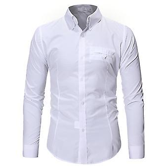 Allthemen Mens Solid Slim Fit Casual Long Sleeve Shirt
