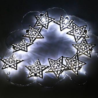 TRIXES Set of 10 Enchanting Christmas Silver Star Indoor LED Lights