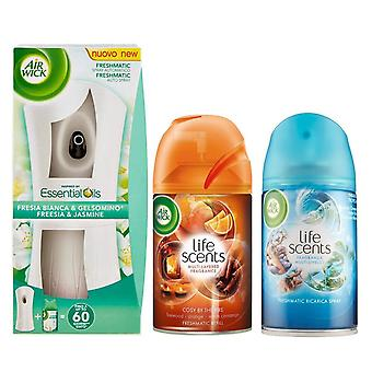 Air wick freshmatic automatic spray holder air freshener freesia & jasmine + cosy by the fire refill + tropical paradise refill