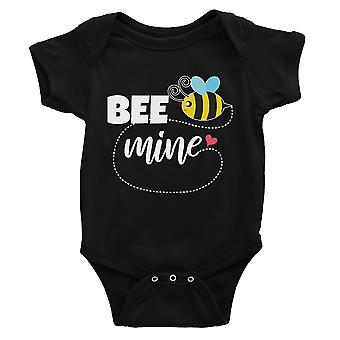 Bee Mine Cute Baby Bodysuit Black Cute Infant Jumpsuit For Newborn