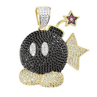 Premium Bling-925 Sterling Silver Cartoon Bomb Pendant