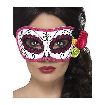 Tag der Toten Augenmaske Weiß & Rosa Halloween