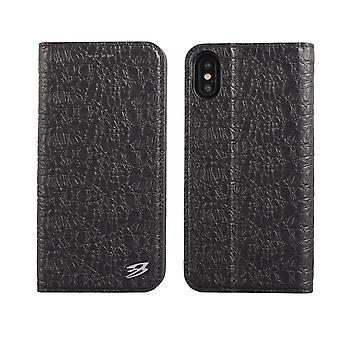 Pour iPhone XS,X Wallet Case,Fierre Shann Crocodile Genuine Leather Cover,Black
