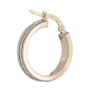 14k Gul Guld Sparkle 4x15 2 Rad Hoop Örhängen Smycken Gåvor för kvinnor - 2,0 gram