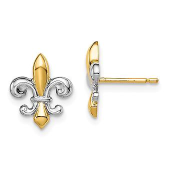 14k מאדי K והלבן רודיום פלר דה לפוסט עגילים תכשיטים מתנות לנשים-.9 גרם