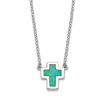 925 Sterling Silver Rhodium plated Simulated Opal Religious Faith Cross With 1inch Ext Necklace 16 Inch Jewelry Gifts fo