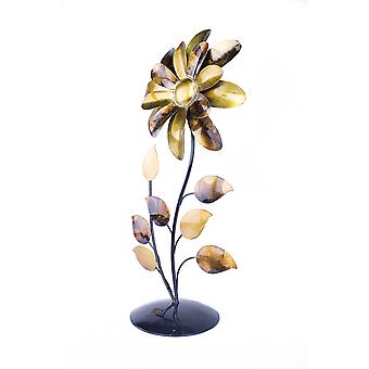 Bo Gold Copper Brown And Orange Metal Flower Table Top Sculpture