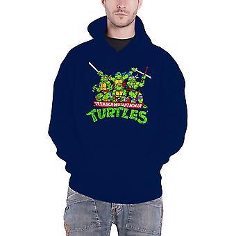 Teenage Mutant Ninja Turtles Hoodie Distressed Group Official Mens Navy