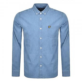 Lyle & Scott Bleached Indigo Blue Stretch Denim Shirt Long Sleeve LW1215V
