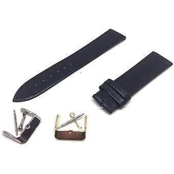 Calf leather watch strap black smooth grain with gold and silver buckles size 9mm to 22mm