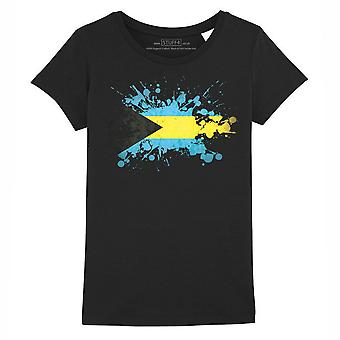 STUFF4 Girl's Round Neck T-Shirt/Bahamas/Bahamian Flag Splat/Black