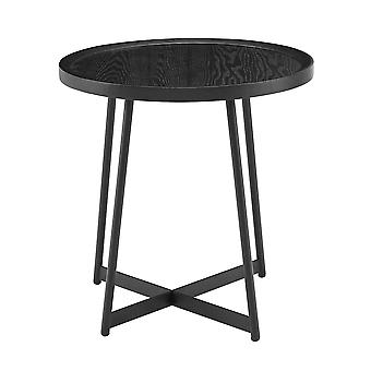 """21.66"""" X 21.66"""" X 22.05"""" Round Side Table in Black Ash Wood and Black"""