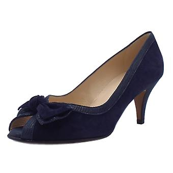 Peter Kaiser Satyr Chic Peep Toe Dressy Shoes In Navy Suede