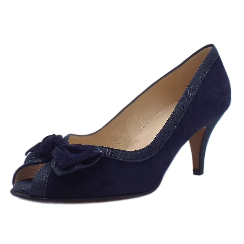 Peter Kaiser Satyr Chic Peep Toe Dressy Shoes In Navy Suede RaEWn