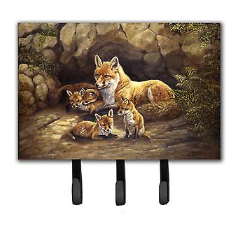 Fox Family Foxes by the Den Leash or Key Holder