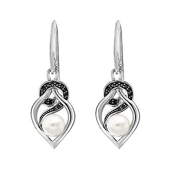 Tuscany Silver Women's Pendant Earrings in Silver Sterling 925 - with Synthetic Pearl and Cubic Zirconium