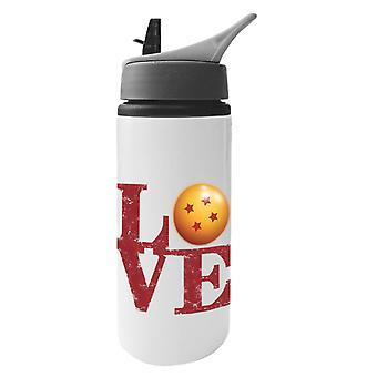 Dragonball Z Love Text Aluminium Water Bottle With Straw