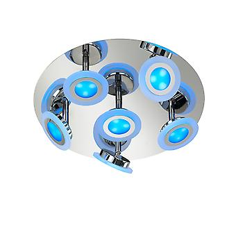 Wofi Gemma - Fernbedienung Dimmbare LED 7 Light Flush Deckenleuchte RGB, Chrom - 9228.07.01.6000