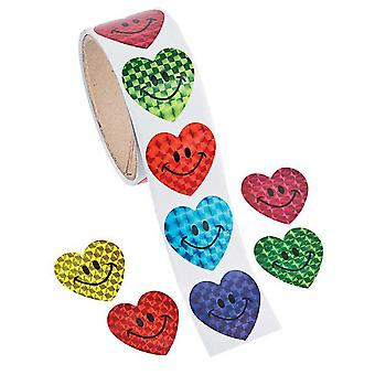 Roll of 100 Smiley Heart Laser Stickers for Kids | Childrens Craft Stickers