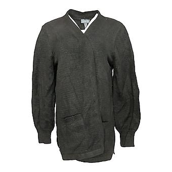 Anybody Women's Sweater Cardigan Style w/ Open Front Black A373430