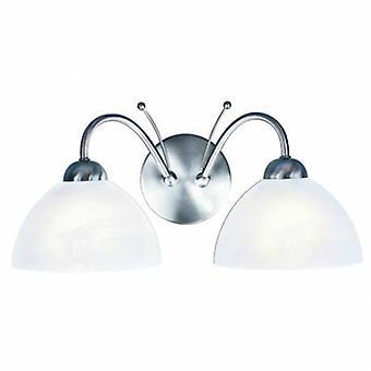 2 ljus inomhus glasvägg ljus satin silver