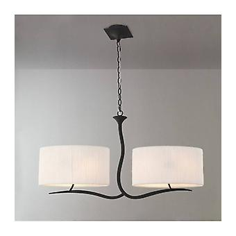 Eve 2 Arm 4 Light Bulbs E27 Pendant, Anthracite With White Oval Shade