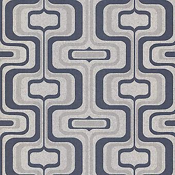 Retro Geometric Glitter Wallpaper Navy Blue Charcoal Grey Vinyl Belgravia Decor