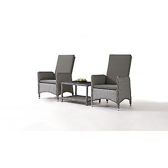Polyrattan stol Doona, 2 stykker med bord - grå satin
